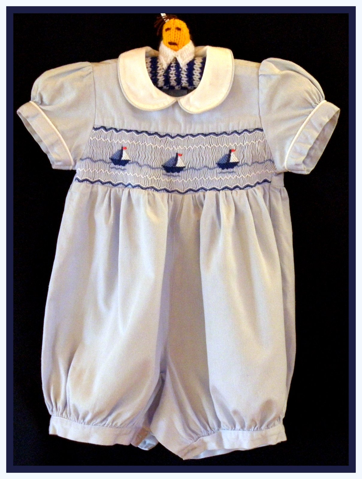 Beautiful Vintage Baby Boy s Smocked Romper